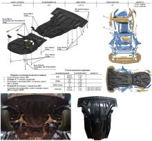 Защита картера и кпп, АВС-Дизайн, карбон 10мм., для 3,5i и 3,0TD