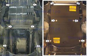 Защита картера, Акпп, переднего дифф-а, Motodor, сталь 3мм., для V - 3.0л