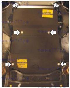 Защита картера, Акпп, перед. дифф-а, Motodor, оцинкованая сталь 3мм., для V - 3.0i