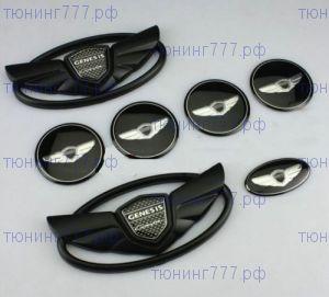 Эмблемы на кузов, колеса и руль, Черные 7ч
