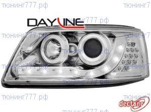 Фары передние, Dectane, хром, с DRL огнями и LED повторителями