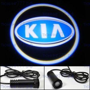 """LED проекция логотипа, """"приветственный свет"""", синее лого, к-кт на 2 двери"""