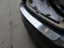 Накладка на задний бампер, AluFrost, с вставками, нерж. сталь, на седан