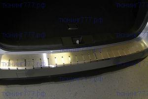 Накладка на задний бампер, Alufrost, с загибом, нерж. сталь, Хэтч 2008-2012