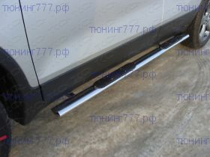 Боковые подножки ТСС, овал с накладками, нерж. сталь ф 75х42мм