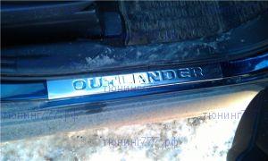 Накладки на пороги, Omsaline, нерж. сталь с логотипом, 4шт