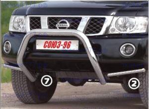 Защита переднего бампера, Souz-96, дуга, нерж. сталь ф 76мм., а/м 2007-2009