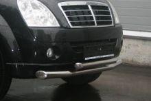 Защита переднего бампера Souz-96, двойная труба, нерж. сталь ф 76/60мм